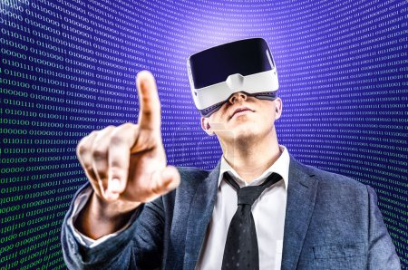 Photo for Businessman using his Virtual Reality VR glasses head mounted display - Royalty Free Image
