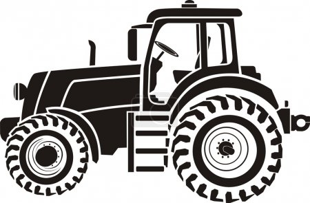 Black and white image of tractor...