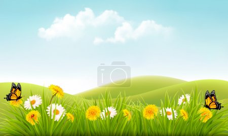 Illustration for Summer nature background with grass and flowers and butterflies. Vector. - Royalty Free Image