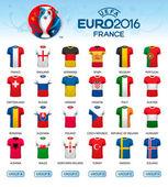 Different flag football jerseys Football championship Vector