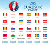 Collection of flags of countries Participants of EURO 2016 Vec