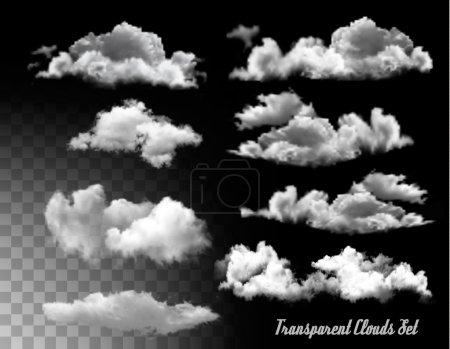 Illustration pour Ensemble de nuages transparents. Vector. - image libre de droit