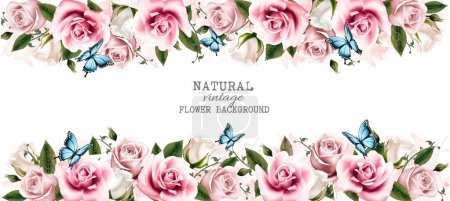 Illustration for Natural vintage greeting card with roses. Vector. - Royalty Free Image