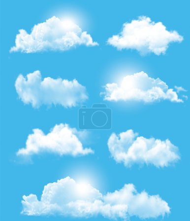 Illustration for Set of transparent different clouds. Vector. - Royalty Free Image