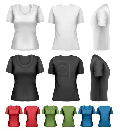 Illustration for Set of colorful female t-shirts. Vector - Royalty Free Image