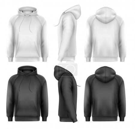 Set of black and white male hoodies with sample text space. Vect