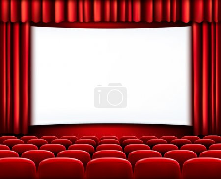 Illustration for Rows of red cinema or theater seats in front of white blank screen. Vector. - Royalty Free Image