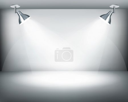Black and white retro showroom with two lights. Vector.