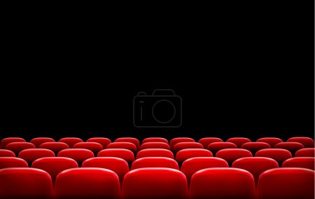 Rows of red cinema or theater seats in front of bl...