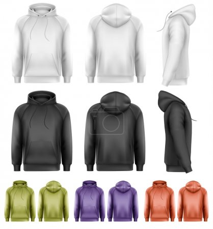 Set of different colored male hoodies. Vector....