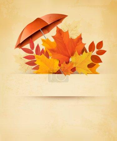 Illustration pour Fond d'automne avec feuilles d'automne et parapluie rouge. Vecteur . - image libre de droit