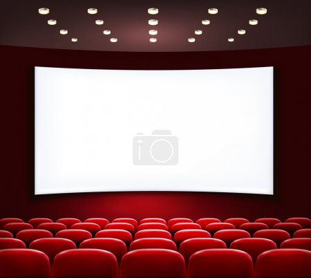 Cinema with white screen and seats. Vector.