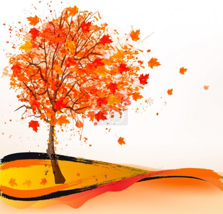 Illustration for Autumn background with a tree. Vector. - Royalty Free Image