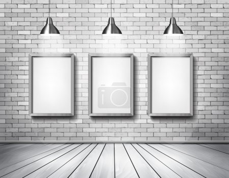 Illustration for White brick show room with spotlights. Vector. - Royalty Free Image