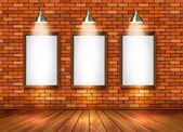 Brick show room with spotlights Vector