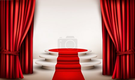 Background with curtains and red carpet leading to a podium. Vec