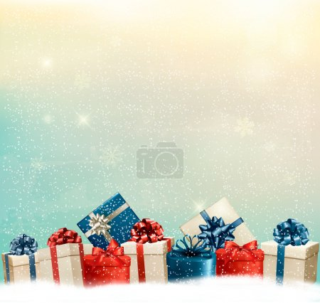 Holiday Christmas background with a border of gift boxes. Vector