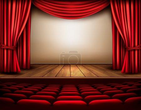 Illustration pour Cinéma ou scène de théâtre avec rideau. Vecteur . - image libre de droit
