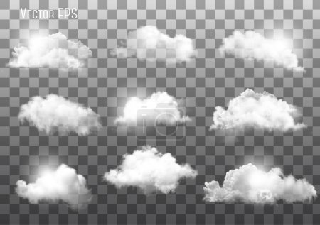 Illustration pour Ensemble de nuages transparents différents. Vecteur . - image libre de droit