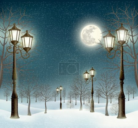 Illustration for Christmas evening winter landscape with lampposts. Vector. - Royalty Free Image