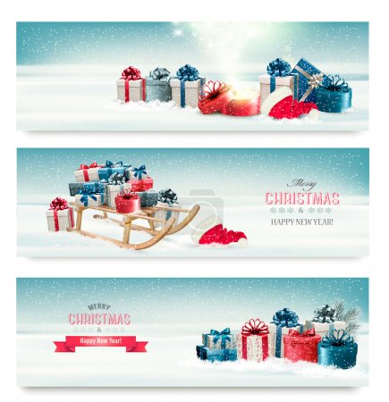 Three Christmas banners with presents and a sleigh. Vector.