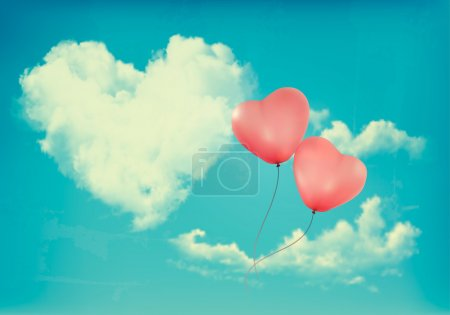 Retro Holiday background with heart shaped cloud o...