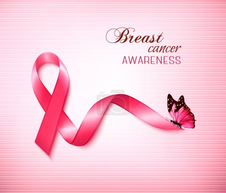 Illustration for Background with Pink Breast Cancer Ribbon and butterfly. Vector - Royalty Free Image