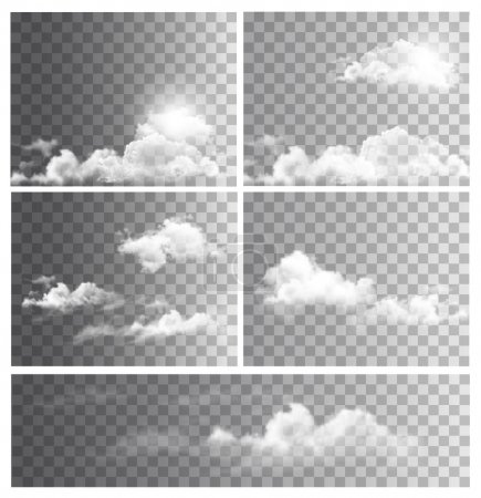 Illustration for Set of backgrounds with transparent different clouds. Vector. - Royalty Free Image
