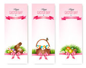 Happy Easter banners Colorful Easter eggs and green grass Vect