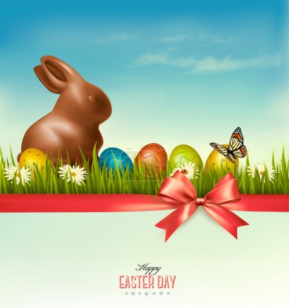 Illustration for Happy Easter background. Colorful Easter eggs and chocolate bunny. Vector. - Royalty Free Image
