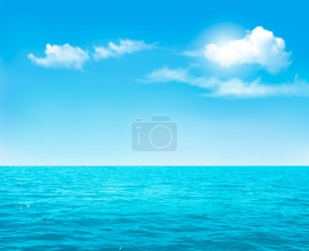 Illustration for Nature background - blue ocean and blue cloudy sky. Vector. - Royalty Free Image