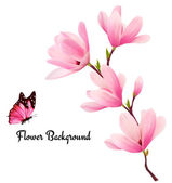 Nature background with blossom branch of pink flowers and butterfly Vector