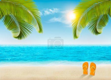 Foto de Fondo de vacaciones. Playa con palmeras y mar azul. Vector . - Imagen libre de derechos