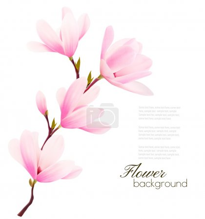 Illustration for Flower background with blossom branch of pink flowers. Vector - Royalty Free Image