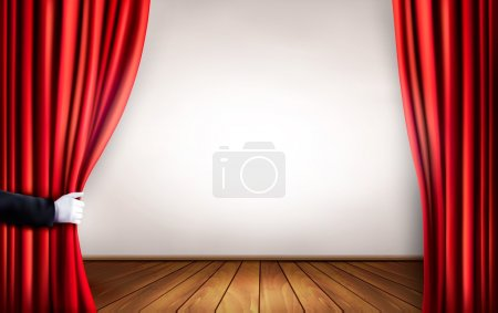 Illustration for Background with red velvet curtain and hand. Vector illustration. - Royalty Free Image