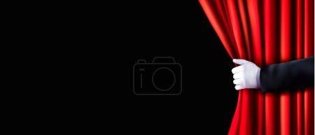 fond avec rideau de velours rouge et de la main. illustration vectorielle