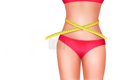 Female body with measuring tape. Diet concept. Vector.