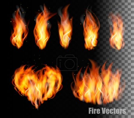 Illustration for Collection of fire vectors - flames and a heart shape. Vector. - Royalty Free Image