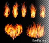 Collection of fire vectors - flames and a heart shape Vector