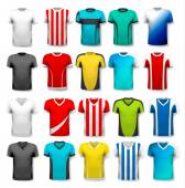Collection of various soccer jerseys The T-shirt is transparent