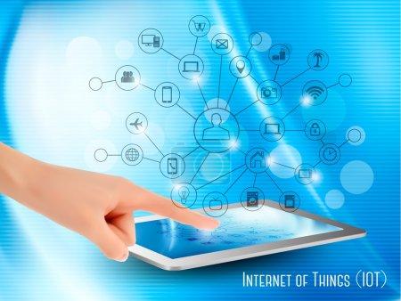 Illustration pour Concept d'Internet des objets (IoT). Main tenant une tablette ou un smartphone, révélant un réseau d'appareils sans fil contrôlés. Vecteur . - image libre de droit