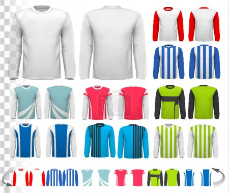 Collection of various male long sleeved shirts. Design template.