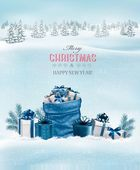 Christmas background with a winter landscape and blue sack full of presents Vector