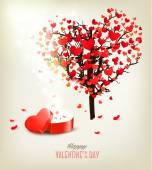 Heart shaped tree and a gift box Valentine's day background Vector