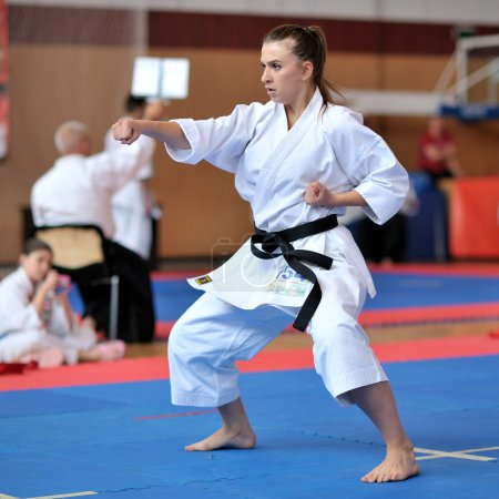 Contestants participating in the European Karate Championship