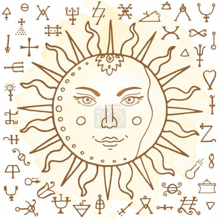 Photo pour Le Soleil avec des signes d'alchimie, illustration - image libre de droit