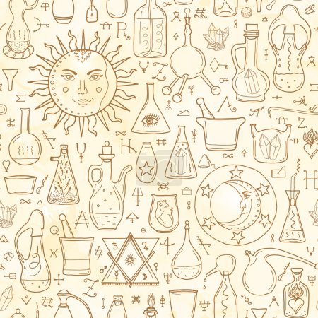 Seamless pattern withs alchemy signs
