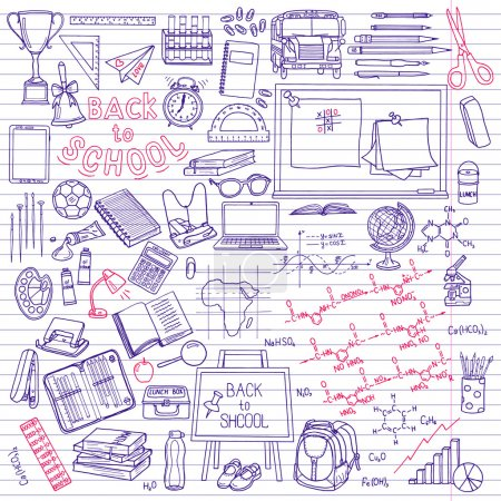 Photo for Back to School supplies sketchy notebook doodles with lettering,  illustration - Royalty Free Image