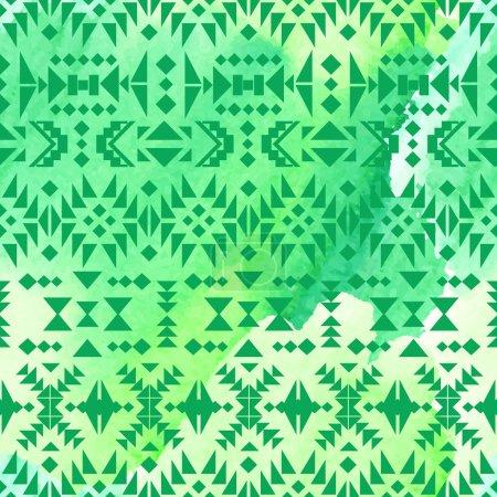 Photo pour Aquarelle motif ethnique sans couture - image libre de droit