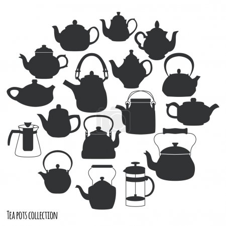 Teapots icons background